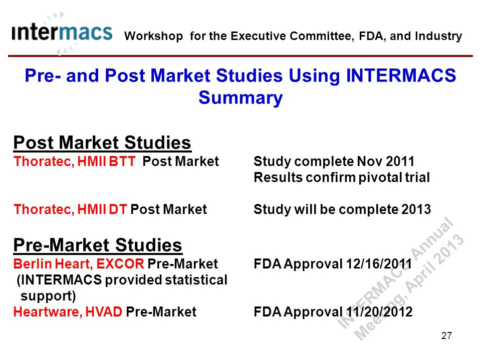 Pre- and Post Market Studies Using INTERMACS Summary Post Market Studies Thoratec, HMII BTT Post Market Study complete Nov 2011 Results confirm pivota
