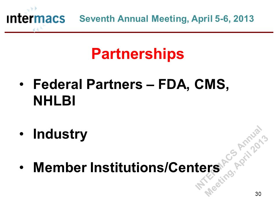 30 Seventh Annual Meeting, April 5-6, 2013 Partnerships Federal Partners – FDA, CMS, NHLBI Industry Member Institutions/Centers INTERMACS Annual Meeting, April 2013