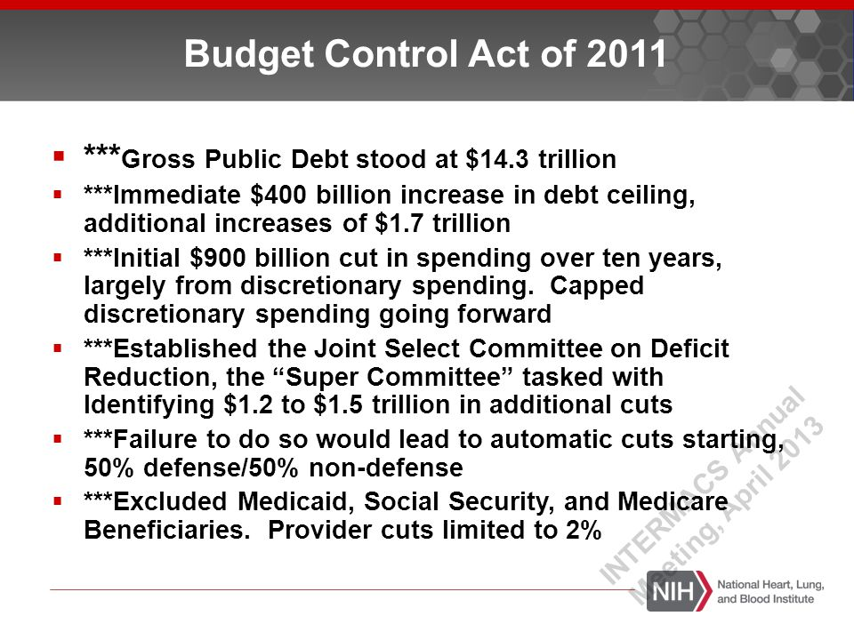 Budget Control Act of 2011  *** Gross Public Debt stood at $14.3 trillion  ***Immediate $400 billion increase in debt ceiling, additional increases