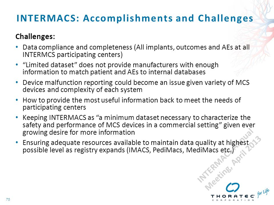 75 INTERMACS: Accomplishments and Challenges Challenges: Data compliance and completeness (All implants, outcomes and AEs at all INTERMCS participatin