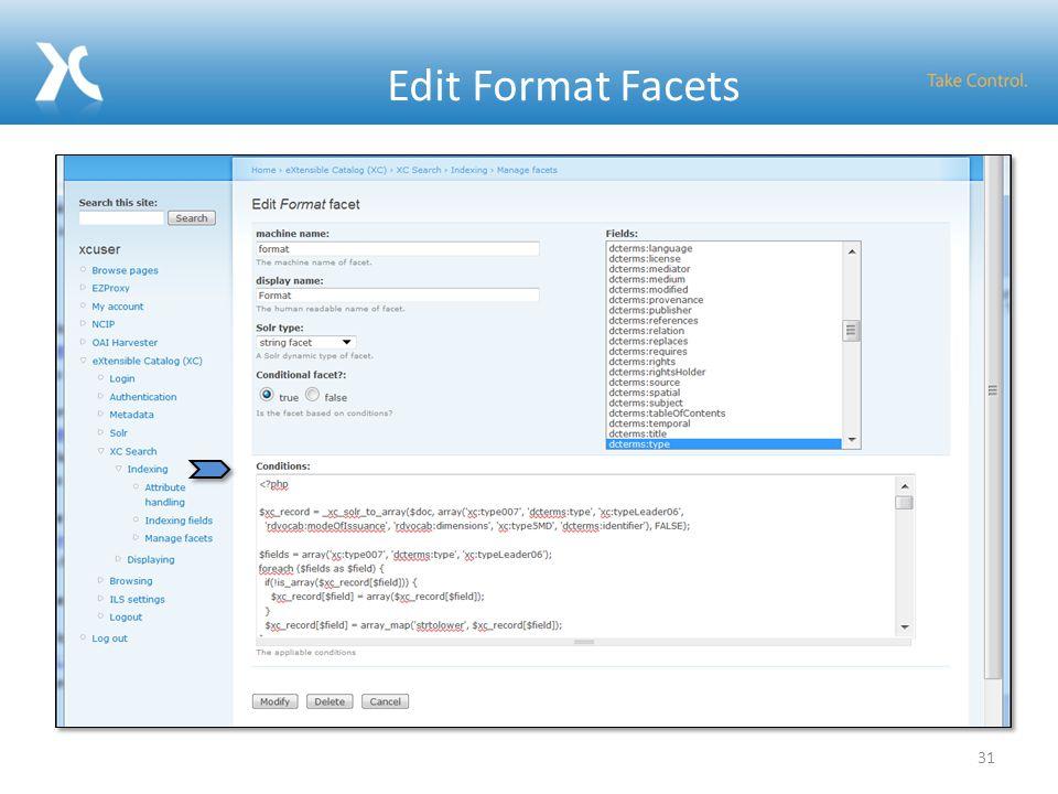 Edit Format Facets 31
