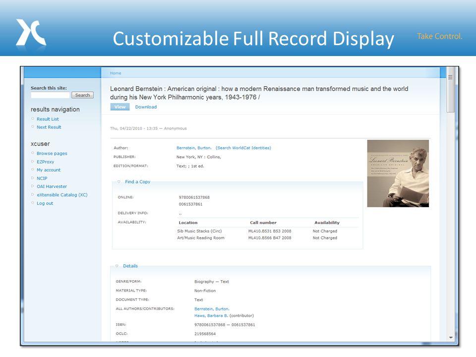 Customizable Full Record Display 33