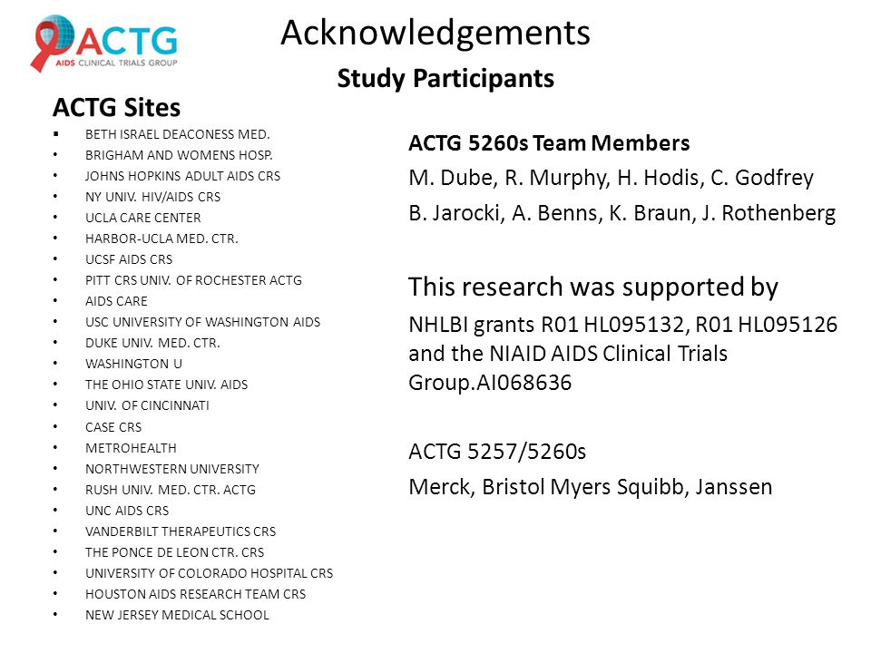 Acknowledgements ACTG Sites  BETH ISRAEL DEACONESS MED.