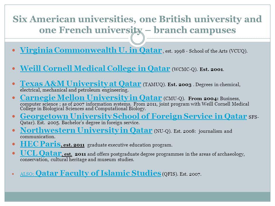 Six American universities, one British university and one French university – branch campuses Virginia Commonwealth U.