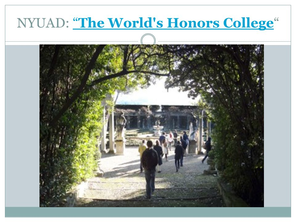 NYUAD: The World s Honors College The World s Honors College