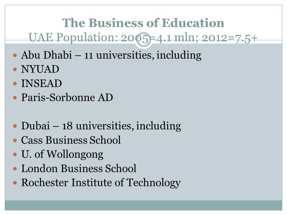 The Business of Education UAE Population: 2005=4.1 mln; 2012=7.5+ Abu Dhabi – 11 universities, including NYUAD INSEAD Paris-Sorbonne AD Dubai – 18 universities, including Cass Business School U.