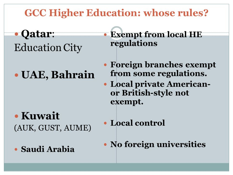 GCC Higher Education: whose rules.