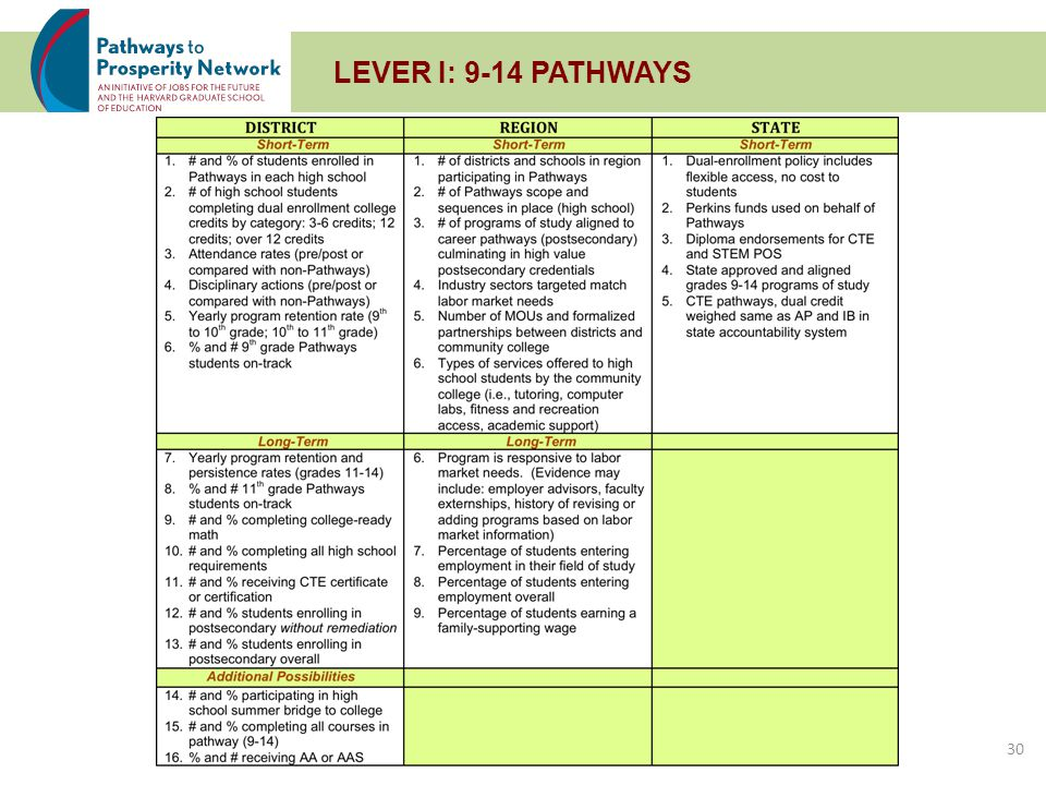 LEVER II: CAREER INFORMATION AND ADVISING 31