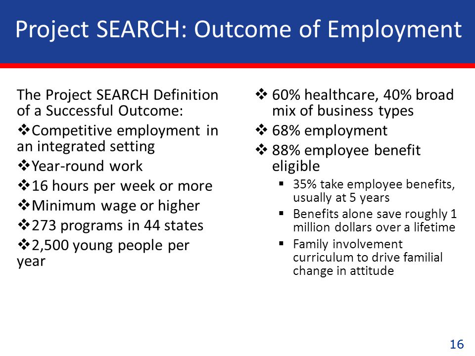 16 The Project SEARCH Definition of a Successful Outcome:  Competitive employment in an integrated setting  Year-round work  16 hours per week or more  Minimum wage or higher  273 programs in 44 states  2,500 young people per year  60% healthcare, 40% broad mix of business types  68% employment  88% employee benefit eligible  35% take employee benefits, usually at 5 years  Benefits alone save roughly 1 million dollars over a lifetime  Family involvement curriculum to drive familial change in attitude Project SEARCH: Outcome of Employment