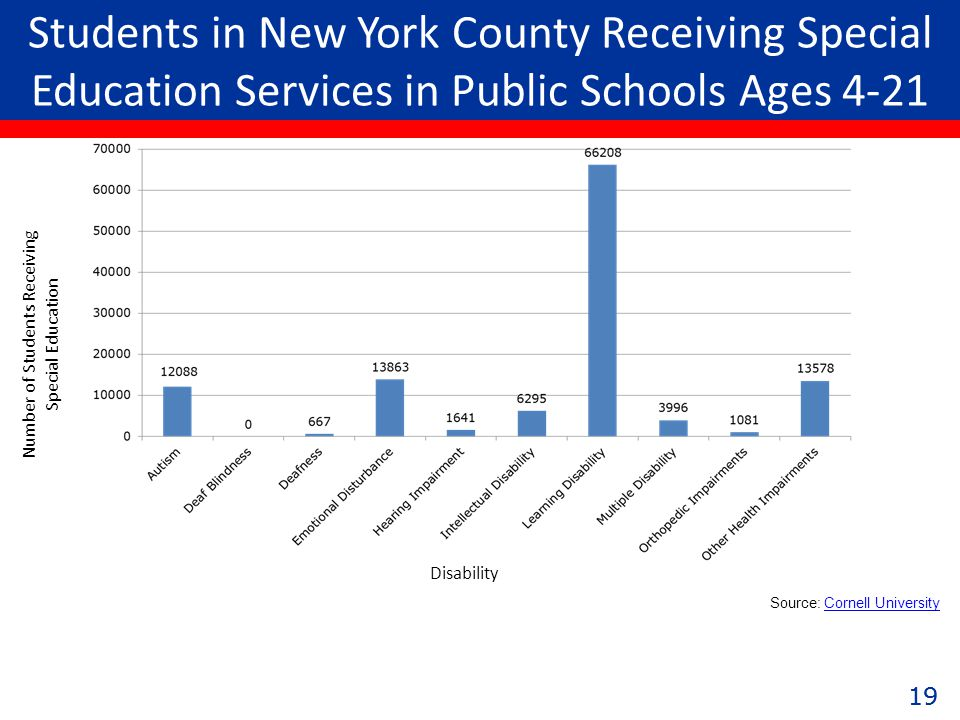 19 Students in New York County Receiving Special Education Services in Public Schools Ages 4-21 Number of Students Receiving Special Education Disability Source: Cornell UniversityCornell University