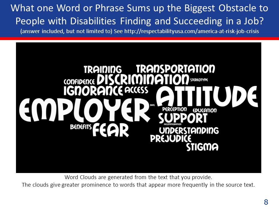 88 What one Word or Phrase Sums up the Biggest Obstacle to People with Disabilities Finding and Succeeding in a Job.