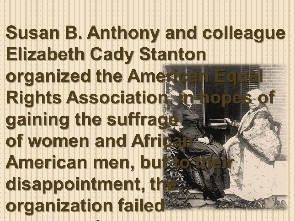 However, Anthony and Stanton did not lose faith and the National Woman Suffrage Association (NWSA) was soon established.