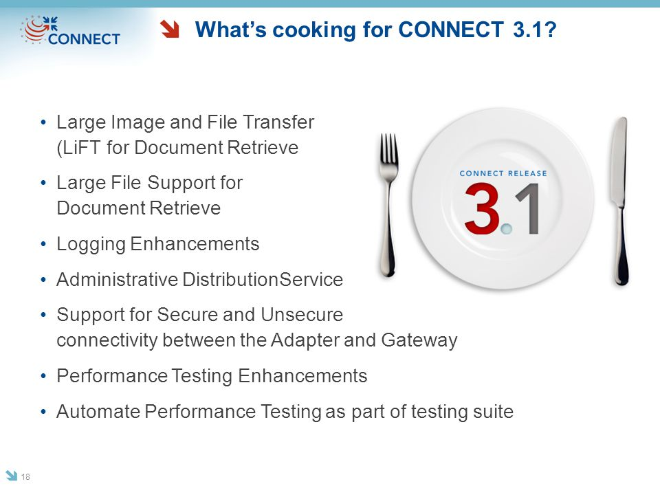 What's cooking for CONNECT 3.1? Large Image and File Transfer (LiFT for Document Retrieve Large File Support for Document Retrieve Logging Enhancement