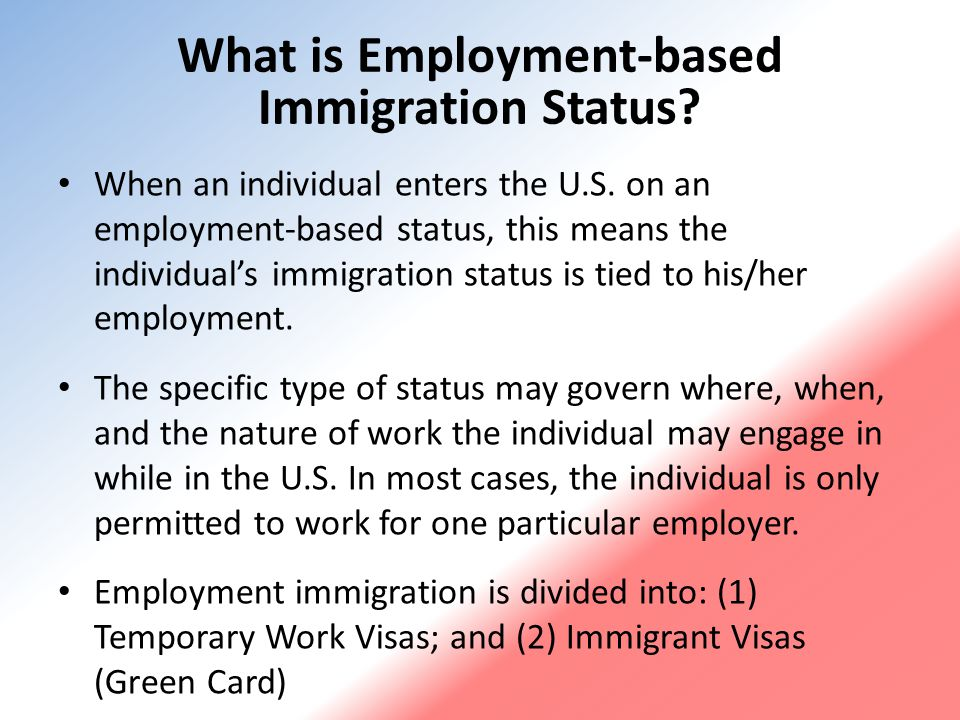 Temporary Work Visas Common Types of Employment-Based Nonimmigrant Visa Categories H H-1B, Temporary workers in specialty occupations H-2A, Temporary or seasonal agricultural workers H-2B, Temporary non-agricultural workers L L-1B, Intracompany transferees with specialized knowledge L-1A, Intracompany transferees in a managerial or executive role E E-1, Treaty traders E-2, Treaty investors E-3, Specialty occupation professionals from Australia O, Persons with extraordinary ability in the sciences, arts, business, education, or athletics P, Professional athletes, artists, and entertainers R, Religious workers TN, NAFTA professionals from Canada or Mexico