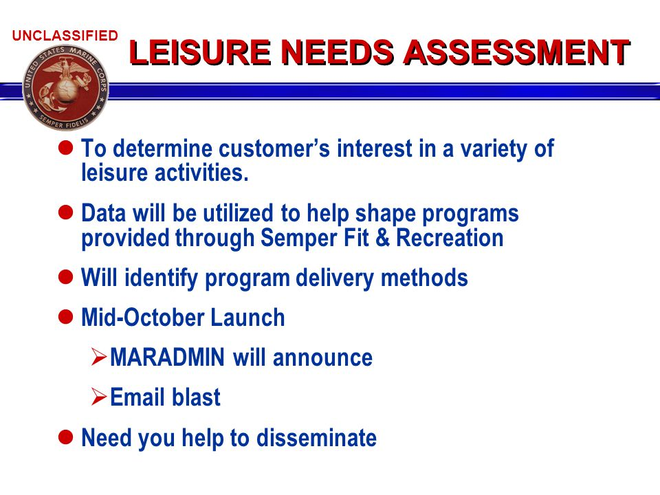 UNCLASSIFIED LEISURE NEEDS ASSESSMENT To determine customer's interest in a variety of leisure activities.