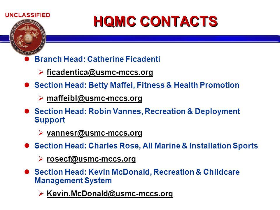 UNCLASSIFIED HQMC CONTACTS Branch Head: Catherine Ficadenti  ficadentica@usmc-mccs.org Section Head: Betty Maffei, Fitness & Health Promotion  maffe