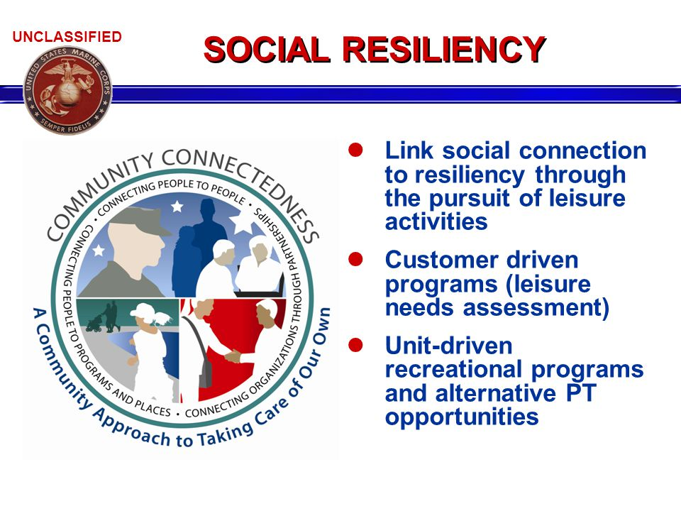 UNCLASSIFIED SOCIAL RESILIENCY Link social connection to resiliency through the pursuit of leisure activities Customer driven programs (leisure needs assessment) Unit-driven recreational programs and alternative PT opportunities