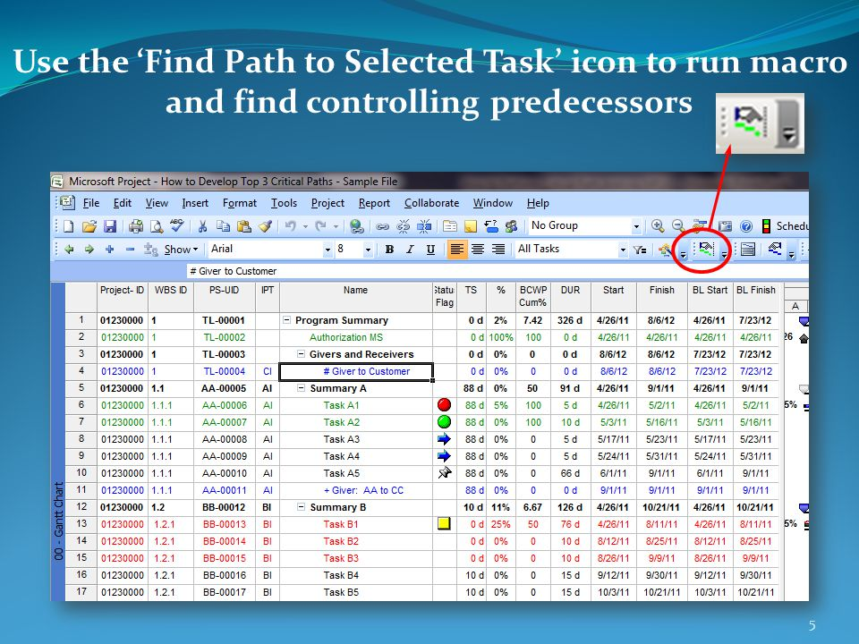 Use the 'Find Path to Selected Task' icon to run macro and find controlling predecessors 5