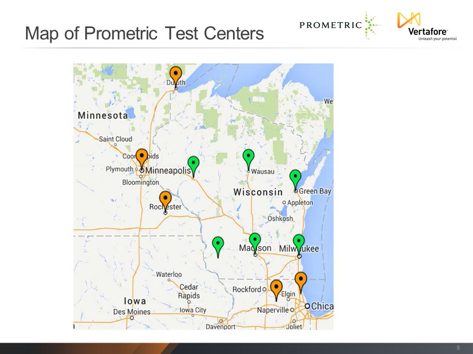 Map of Prometric Test Centers 8