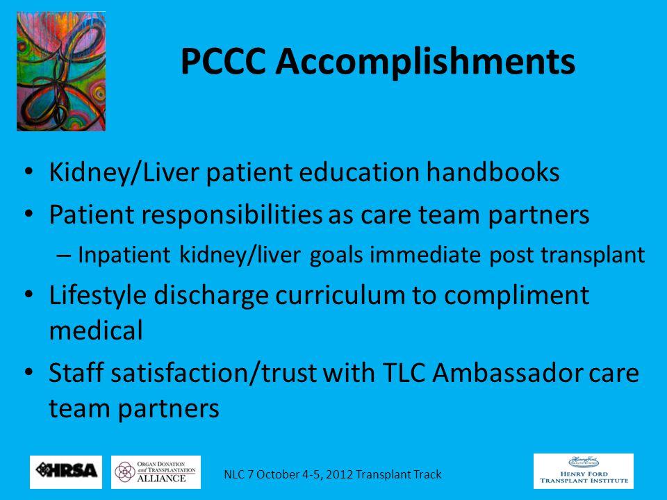 NLC 7 October 4-5, 2012 Transplant Track PCCC Accomplishments Kidney/Liver patient education handbooks Patient responsibilities as care team partners