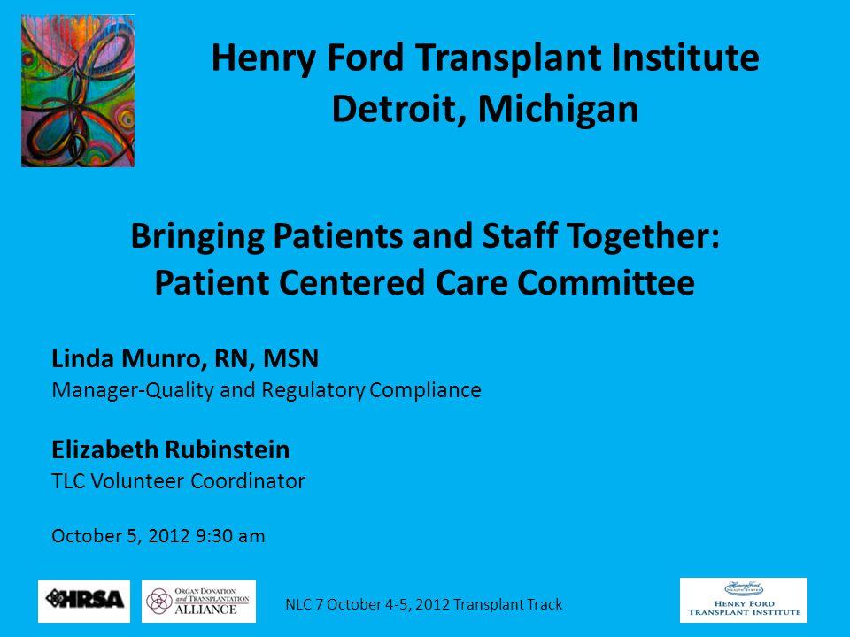 NLC 7 October 4-5, 2012 Transplant Track