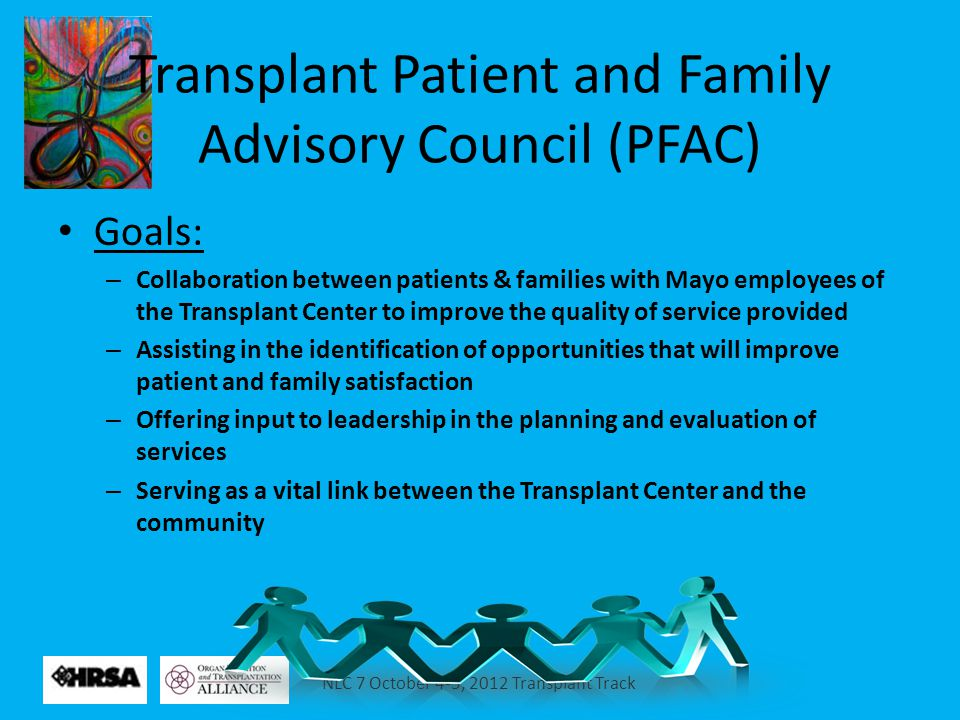 NLC 7 October 4-5, 2012 Transplant Track Transplant Patient and Family Advisory Council (PFAC) Goals: – Collaboration between patients & families with