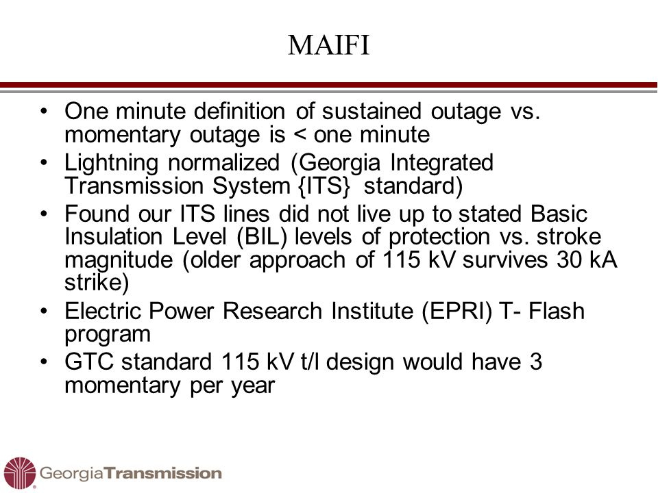 MAIFI One minute definition of sustained outage vs.