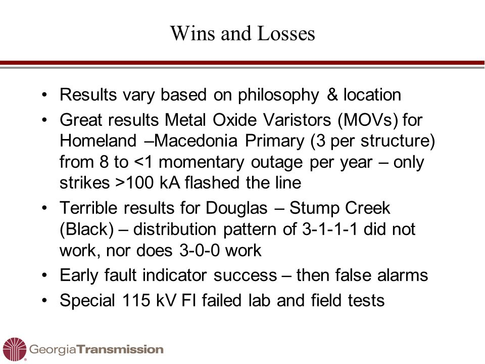 Wins and Losses Results vary based on philosophy & location Great results Metal Oxide Varistors (MOVs) for Homeland –Macedonia Primary (3 per structur