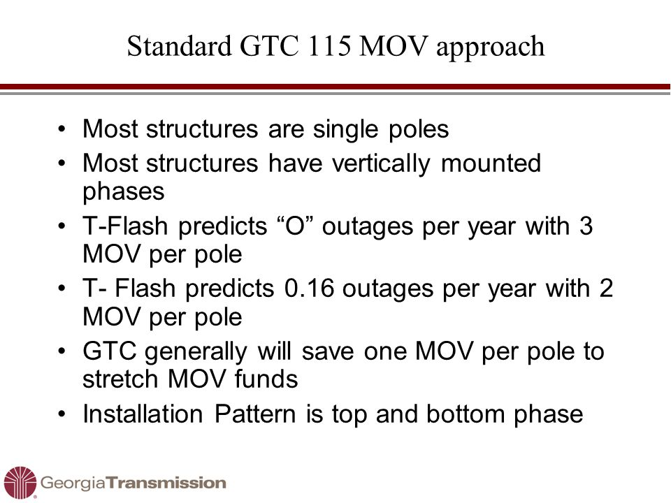 "Standard GTC 115 MOV approach Most structures are single poles Most structures have vertically mounted phases T-Flash predicts ""O"" outages per year wi"