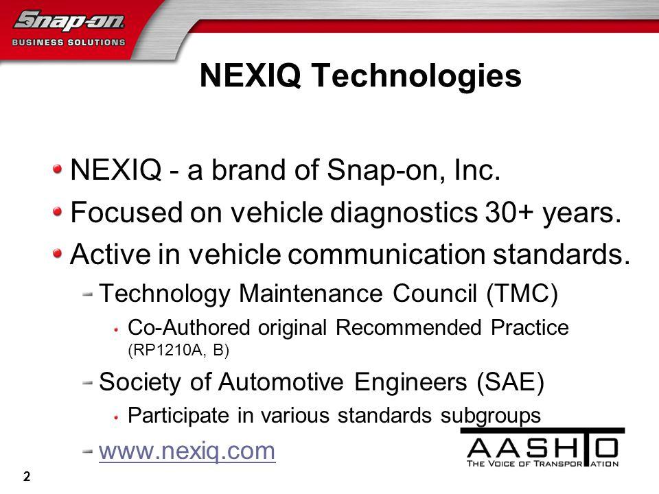 2 NEXIQ - a brand of Snap-on, Inc. Focused on vehicle diagnostics 30+ years.