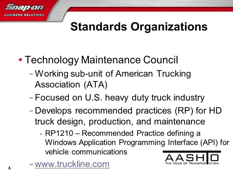 Standards Organizations Technology Maintenance Council Working sub-unit of American Trucking Association (ATA) Focused on U.S.