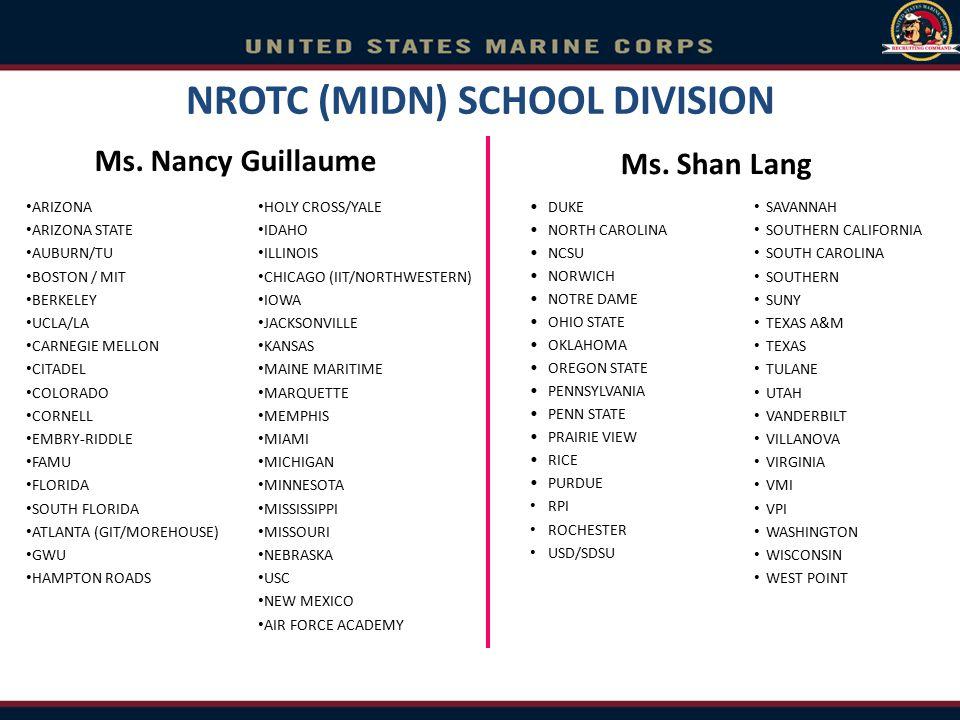 NROTC (MIDN) SCHOOL DIVISION Ms. Shan Lang DUKE NORTH CAROLINA NCSU NORWICH NOTRE DAME OHIO STATE OKLAHOMA OREGON STATE PENNSYLVANIA PENN STATE PRAIRI