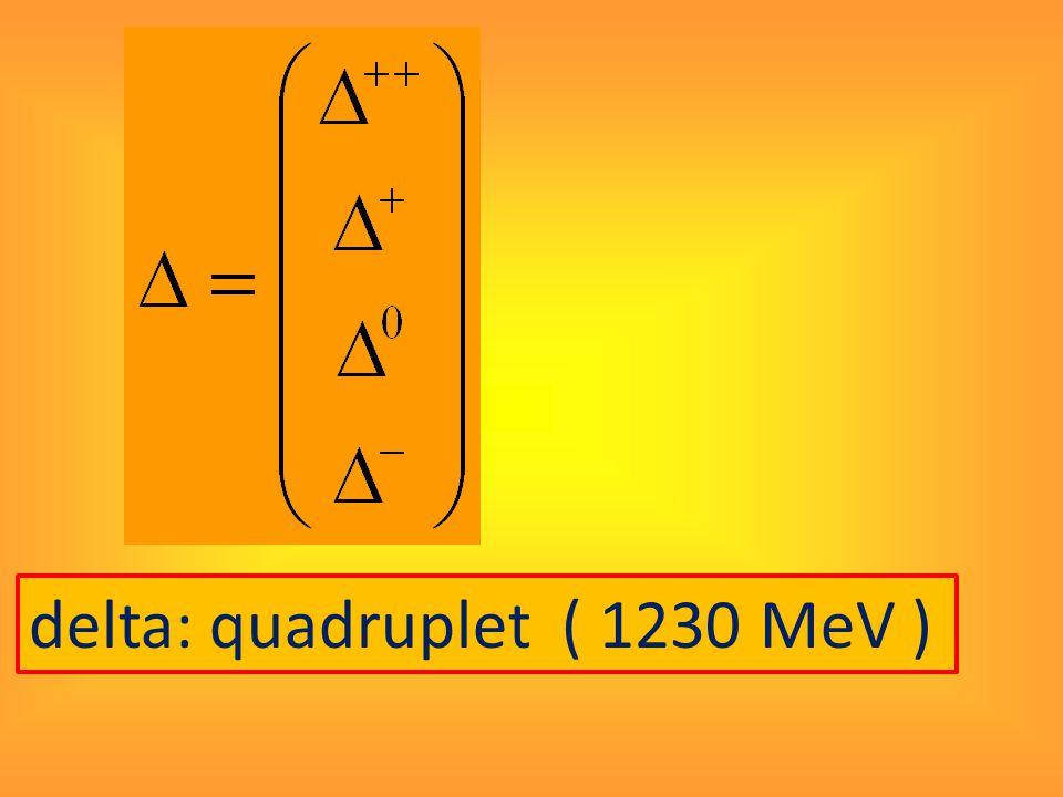 delta: quadruplet ( 1230 MeV )