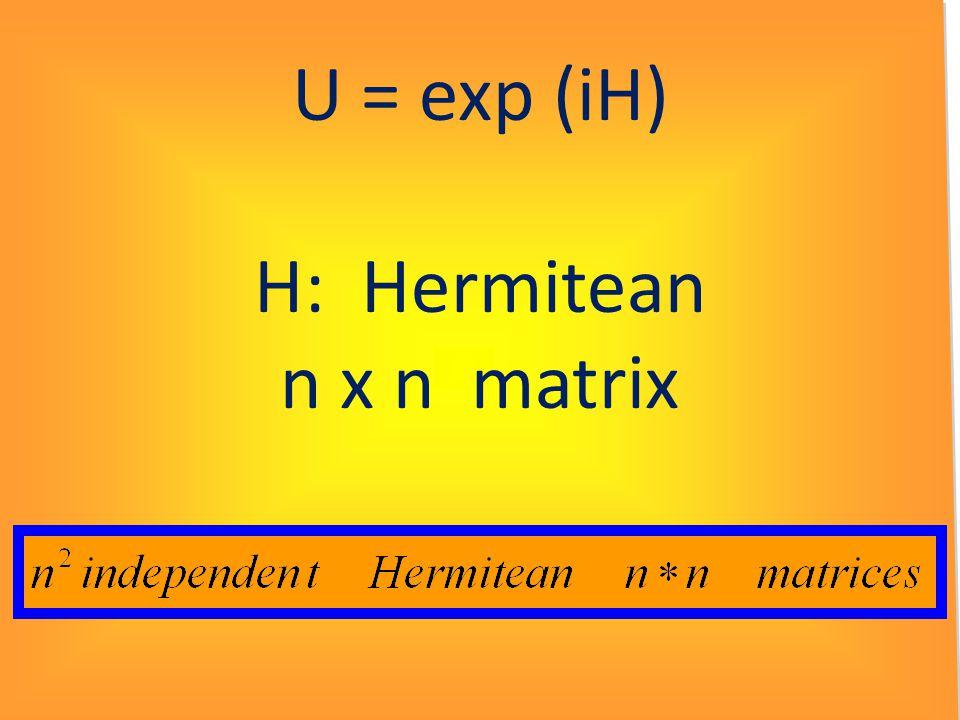 U = exp (iH) H: Hermitean n x n matrix