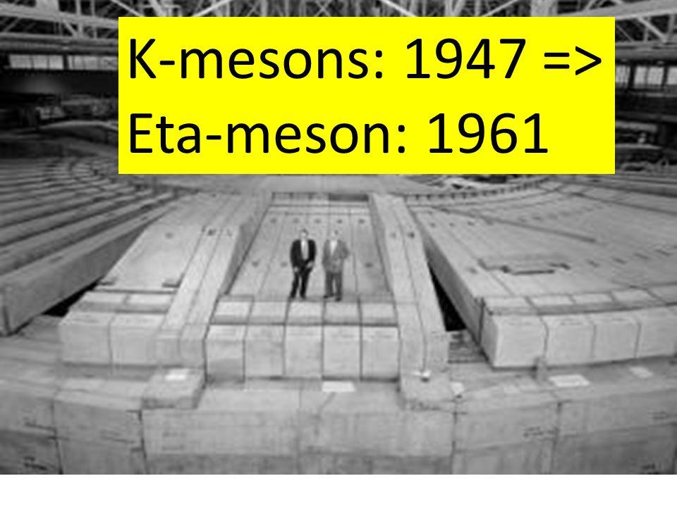 K-mesons: 1947 => Eta-meson: 1961