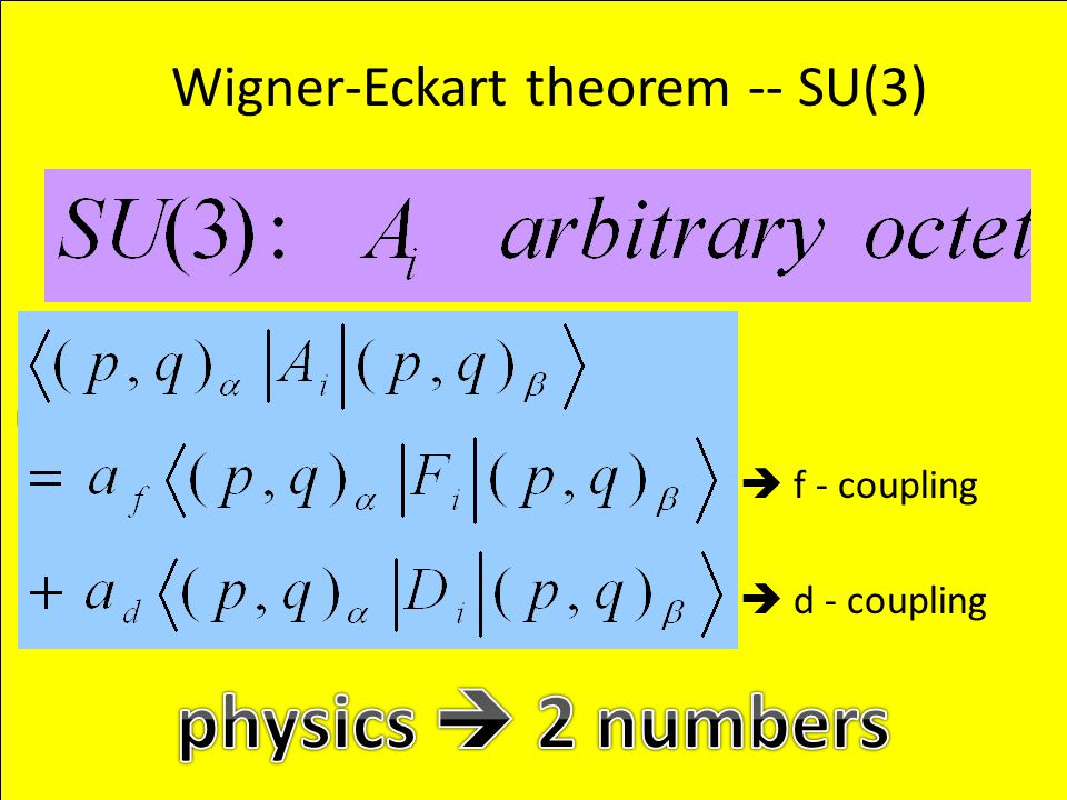  f - coupling  d - coupling Wigner-Eckart theorem -- SU(3)