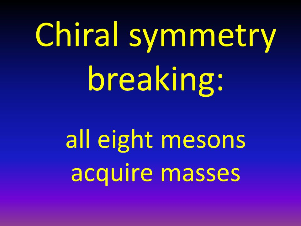 Chiral symmetry breaking: all eight mesons acquire masses