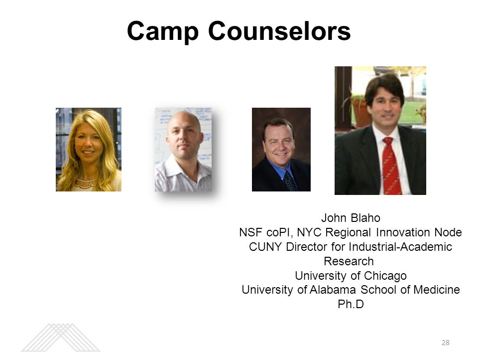 Camp Counselors 28 John Blaho NSF coPI, NYC Regional Innovation Node CUNY Director for Industrial-Academic Research University of Chicago University of Alabama School of Medicine Ph.D