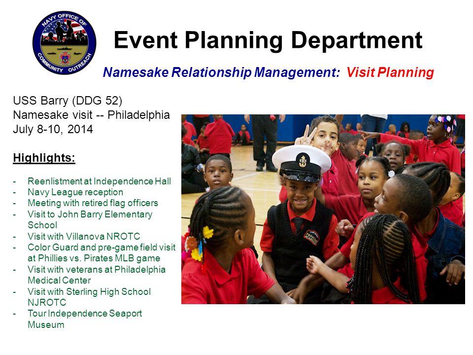 Event Planning Department Namesake Relationship Management: Visit Planning USS Barry (DDG 52) Namesake visit -- Philadelphia July 8-10, 2014 Highlight