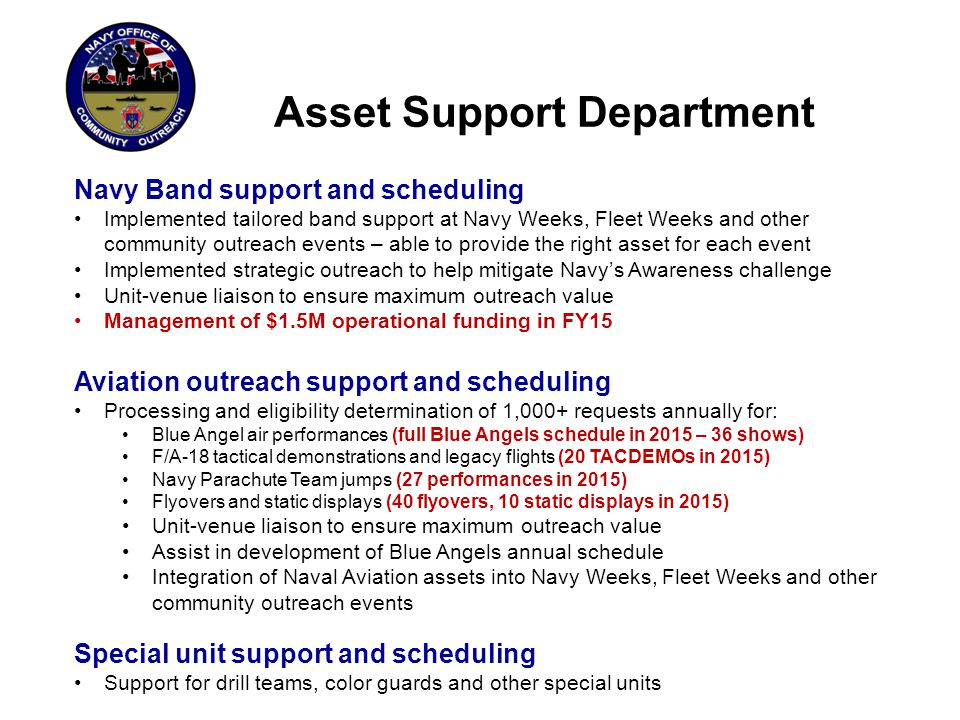 Asset Support Department Navy Band support and scheduling Implemented tailored band support at Navy Weeks, Fleet Weeks and other community outreach ev