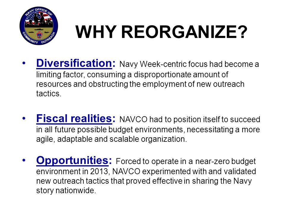 WHY REORGANIZE? Diversification: Navy Week-centric focus had become a limiting factor, consuming a disproportionate amount of resources and obstructin