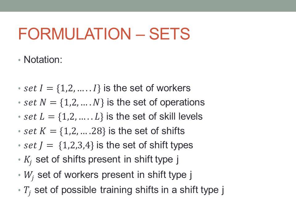 FORMULATION – SETS