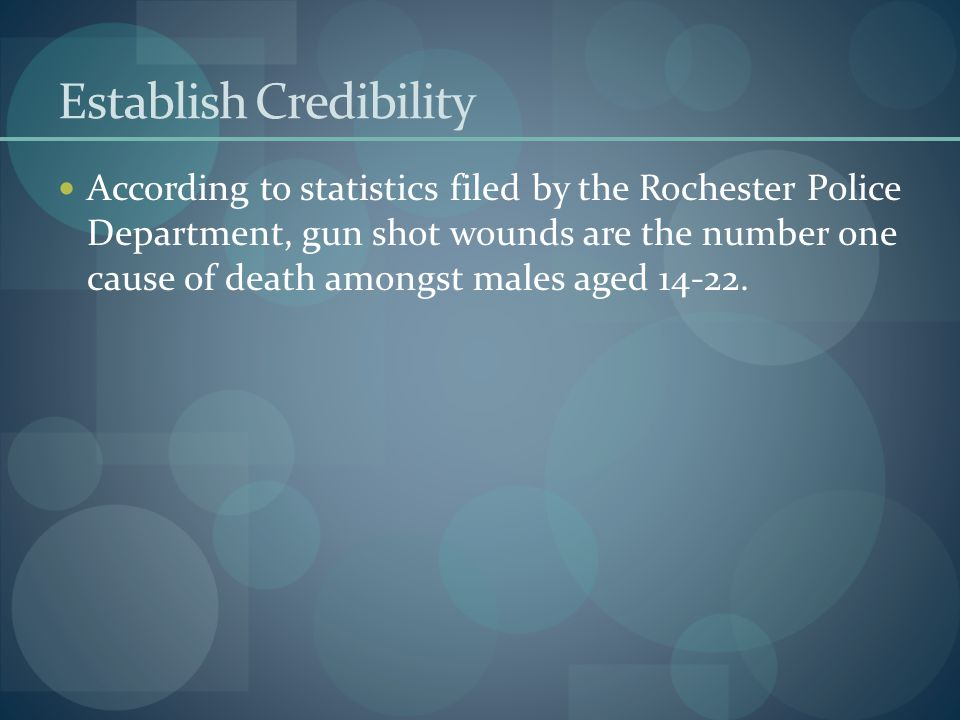 Establish Credibility According to statistics filed by the Rochester Police Department, gun shot wounds are the number one cause of death amongst male