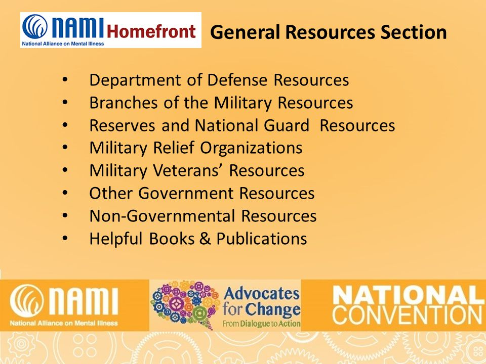 General Resources Section Department of Defense Resources Branches of the Military Resources Reserves and National Guard Resources Military Relief Organizations Military Veterans' Resources Other Government Resources Non-Governmental Resources Helpful Books & Publications