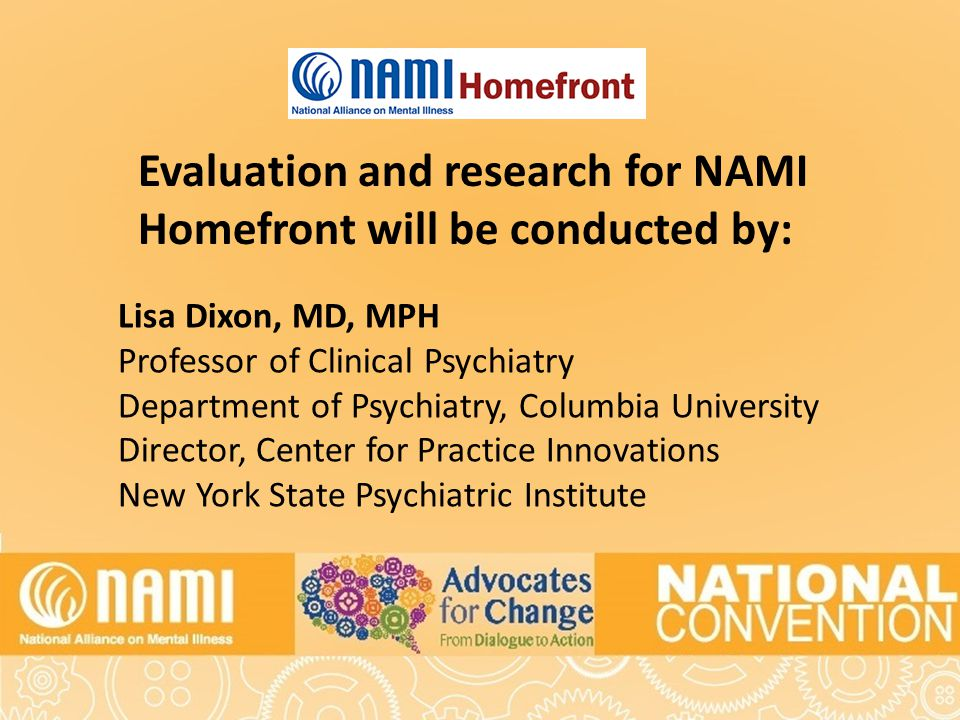 Title of Slide Evaluation and research for NAMI Homefront will be conducted by: Lisa Dixon, MD, MPH Professor of Clinical Psychiatry Department of Psychiatry, Columbia University Director, Center for Practice Innovations New York State Psychiatric Institute