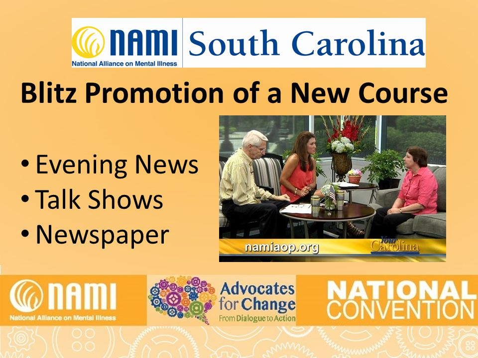 Title of Slide Blitz Promotion of a New Course Evening News Talk Shows Newspaper