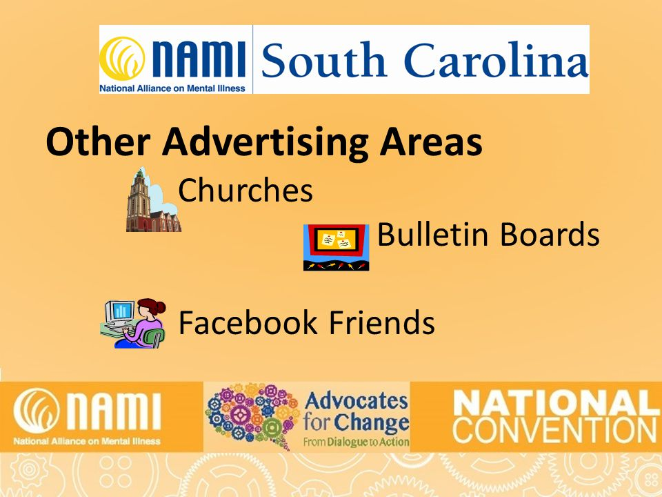 Title of Slide Other Advertising Areas Churches Bulletin Boards Facebook Friends