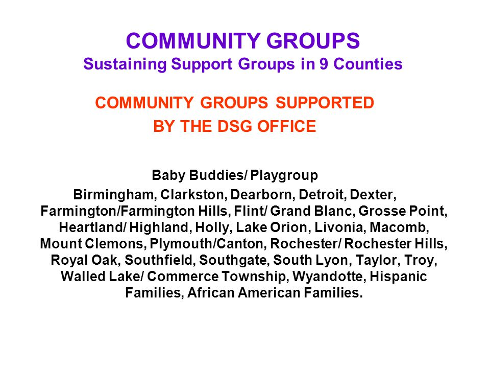 COMMUNITY GROUPS Sustaining Support Groups in 9 Counties COMMUNITY GROUPS SUPPORTED BY THE DSG OFFICE Baby Buddies/ Playgroup Birmingham, Clarkston, D