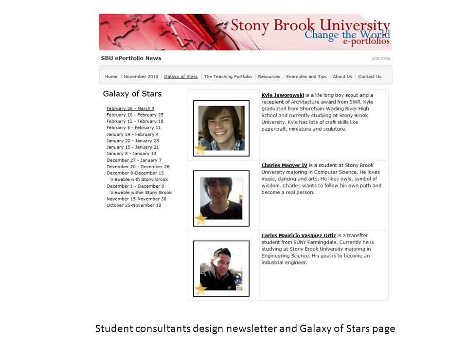 Student consultants design newsletter and Galaxy of Stars page