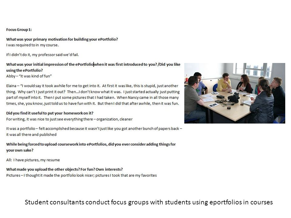 Student consultants conduct focus groups with students using eportfolios in courses
